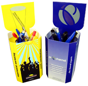 Push up Desktop Pen Pots -  Trade Show and Road Show Ideas for Long Term Exposure